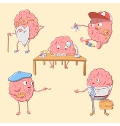 Set of cartoon cute brain character vector image vector image