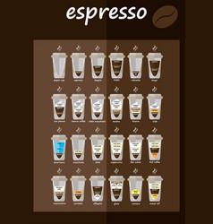 Set of coffee types menu vector