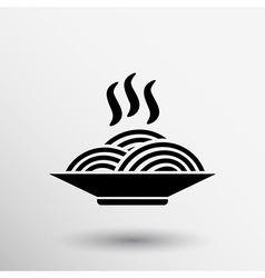 Single black silhouette icon bowl with ramen vector image