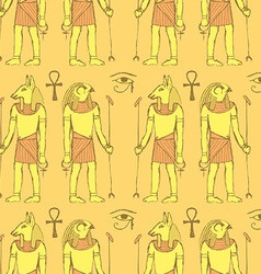 Sketch Egyptian gods in vintage style vector image