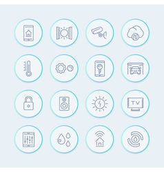 smart house technology system line icons home vector image