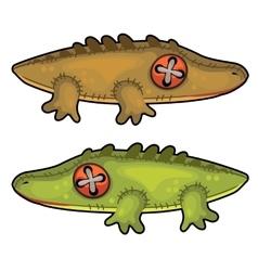 Two handmade soft toys crocodile animal vector