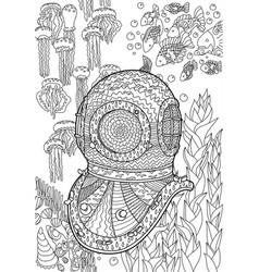 Underwater antique divers helmet and sea bottom vector