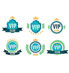 Vip club logos set in flat style vector