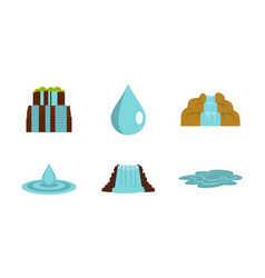 water nature icon set flat style vector image