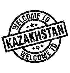 Welcome to kazakhstan black stamp vector