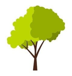 Green tree with fluffy crown icon flat style vector