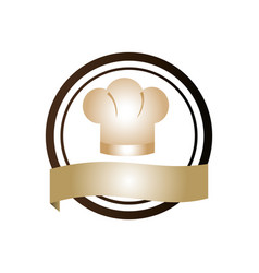 color circular emblem with chef hat vector image