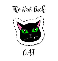 Fashion patch element black cat vector