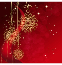 Red card with christmas snowflakes vector