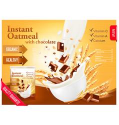 Instant porridge advert concept milk flowing into vector