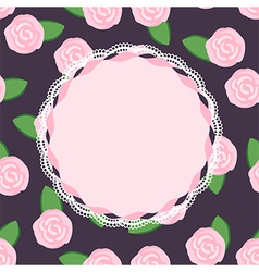Seamless pattern of pretty pink roses with place f vector