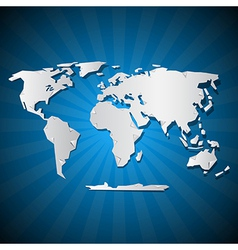 Paper world map on blue background vector