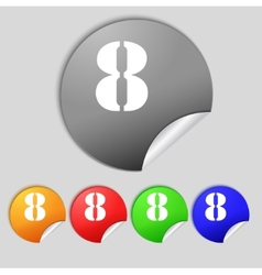 Number eight icon sign set of coloured buttons vector