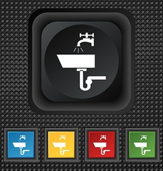Washbasin icon sign symbol squared colourful vector