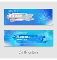 Set of abstract technology banners with vector