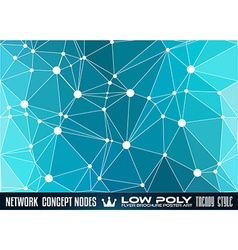 Low poly trangular network with nodes background vector