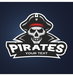 Skull pirates on a dark background vector