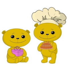 Teddy bears with cake and gift box vector