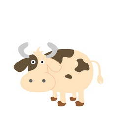 A cute s cow cartoon vector