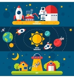 Space exploration 3 flat banners set vector