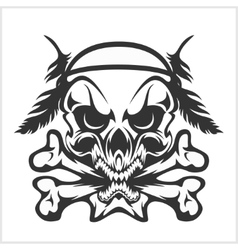 Skull native american and crossbones - isolated on vector