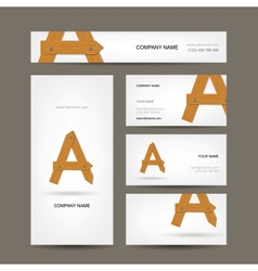 Business cards collection wooden letter a vector