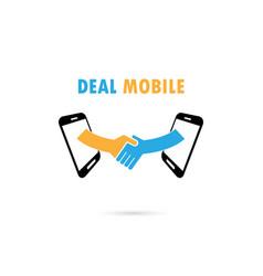 Business people handshake through mobile phone vector