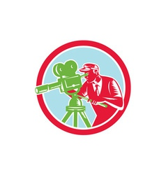 Cameraman vintage movie camera woodcut vector
