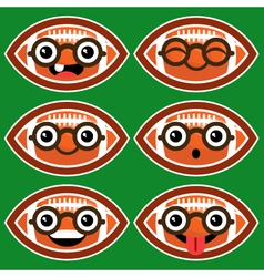 Cartoon American Footballs with Eyeglasses vector image