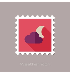 Cloud moon flat stamp meteorology weather vector