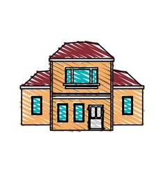 Color crayon stripe cartoon facade two house vector