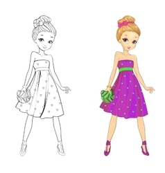 Coloring book of heart girl vector