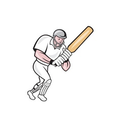 Cricket Player Batsman Batting Cartoon vector image vector image