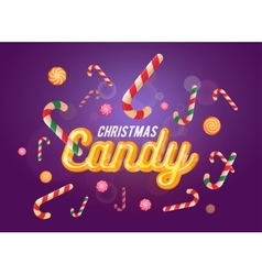 Cute christmas candy font and sweets set on the vector image