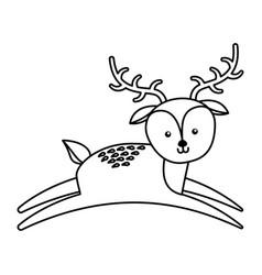 cute line icon deer cartoon vector image vector image