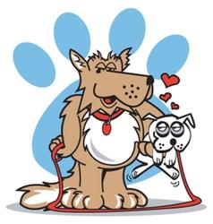 Dog walk vector image vector image