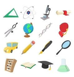 Education cartoon icons vector image vector image