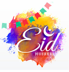 eid mubarak card with watercolor grunge effect vector image