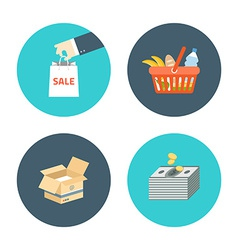 Flat design icons of e-commerce internet sh vector image
