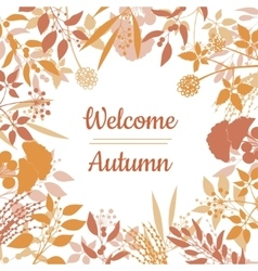 Flat design style welcome autumn card vector