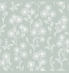 floral white pattern leaves and flowers nature vector image