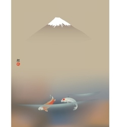 Fuji and koi carps vector