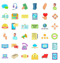 Good support icons set cartoon style vector