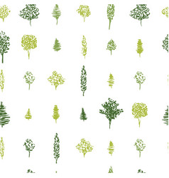 Green forest seamless pattern in geometric vector