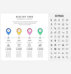 Healthy food infographic template elements icons vector