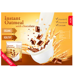 instant porridge advert concept milk flowing into vector image