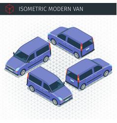 isometric modern van vector image vector image