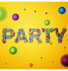 Party word consisting of colored 3d particles vector