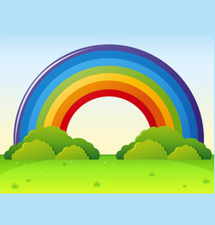 rainbow over the green park vector image vector image